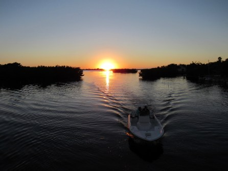 Coucher de soleil sur la Lemon Bay entre Englewood et Englewood Beach (Floride)