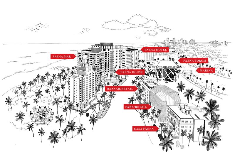 Carte du resort Faena à Miami Beach