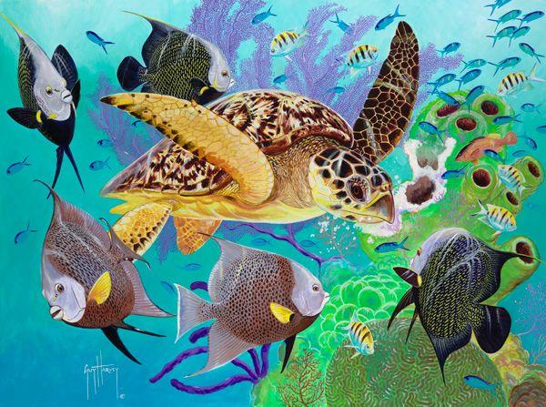 Tortue de mer peinte par Guy Harvey