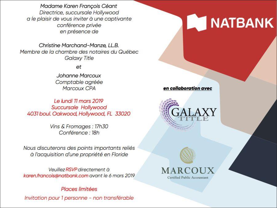Invitation Conference Vin et fromages natbank 2019