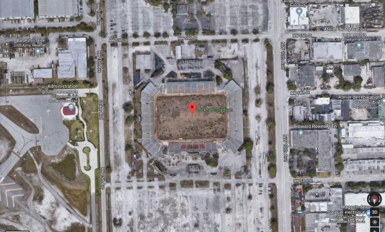 Vue aérienne Google Map de l'actuel Lockhart Stadium de Fort Lauderdale