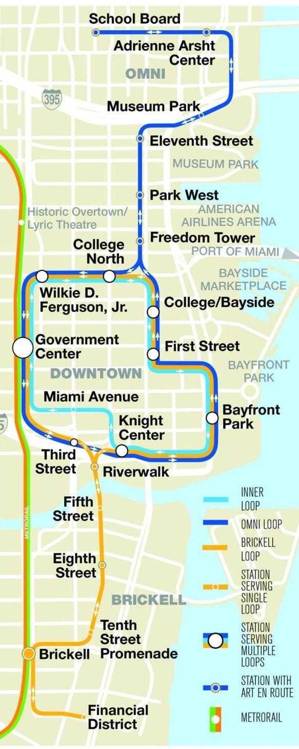 Carte du métro mover de Miami