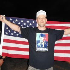Supporter de Donald Trump à la réunion publique de Donald Trump à Boca Raton Floride