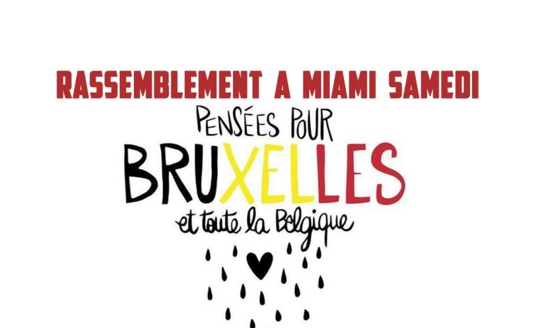 Manifestation à Miami en soutien à Bruxelles et à la Belgique. Attentats terrorisme