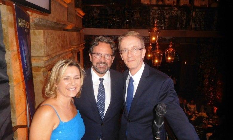Gala Facc 2016 à Miami : Séverine Gianese Pittman (pdte FACC), le député Frédéric Lefebvre et le consul Philippe Létrilliart.