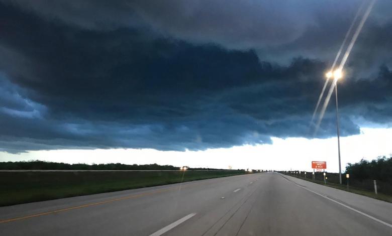 Ouragan sur les Everglades près de Miami en Floride
