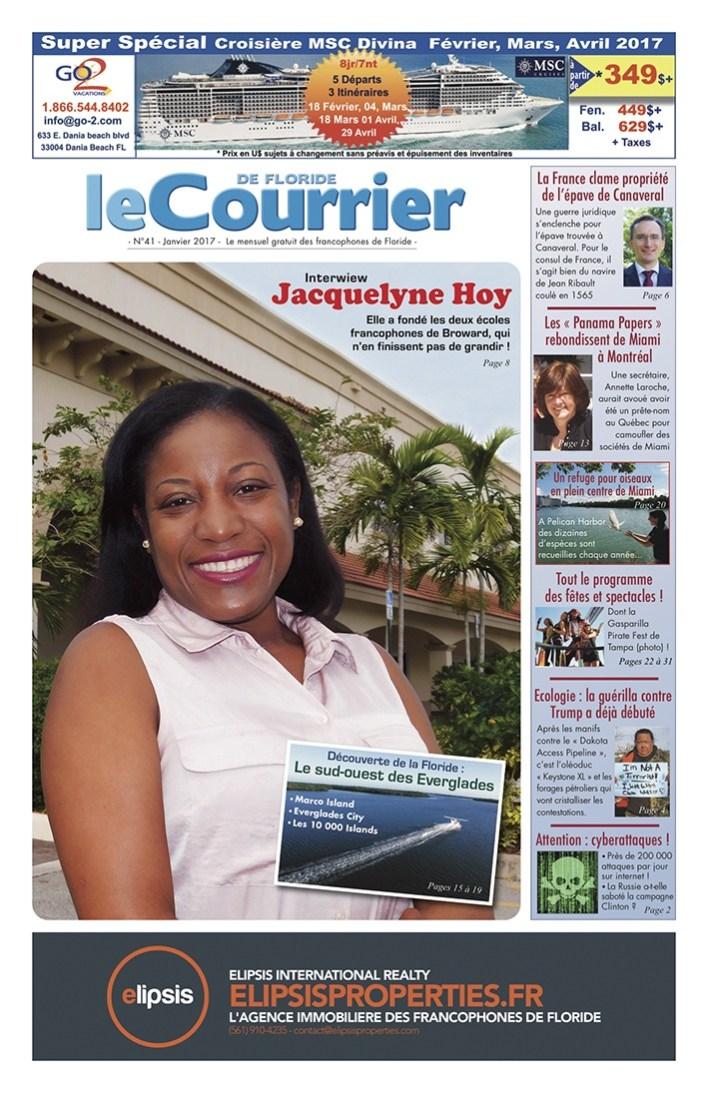 Couverture du Courrier de Floride de Janvier 2017, le journal francophone des Français, Canadiens, Suisses, Québécois, Belges de Miami et de Floride
