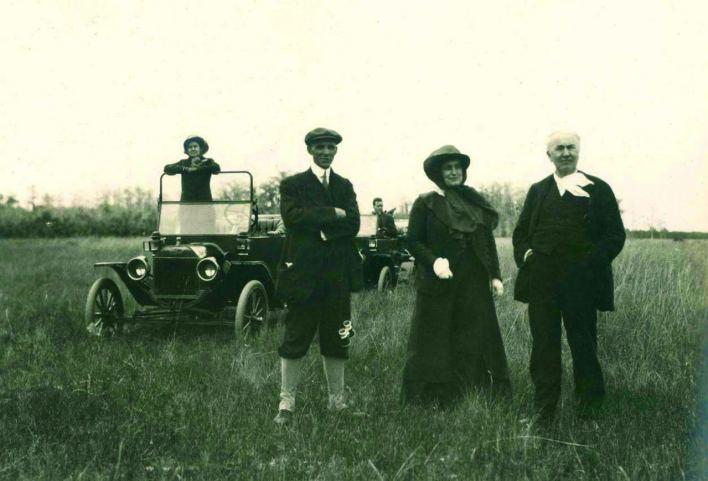 Henry Ford, Mina Edison et Thomas Edison lors d'une partie de camping dans les Everglades.