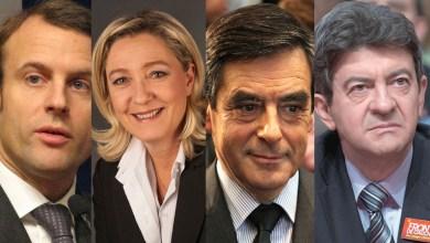 Emmanuel Macron, Marine Le Pen, François Fillon et Jean-Luc Mélenchon : les favoris des sondages pour l'élection présidentielle.
