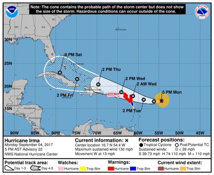 Ouragan Irma Lundi à 17h / NHC
