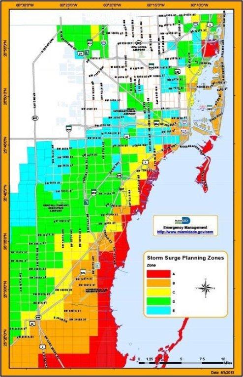 Zones d'évacuation de Miami.