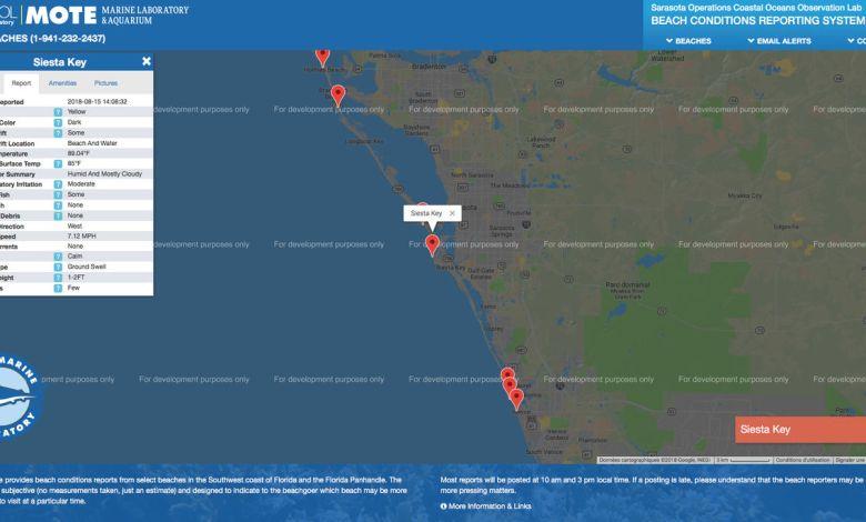 Carte de la marée rouge sur la côte ouest de Floride