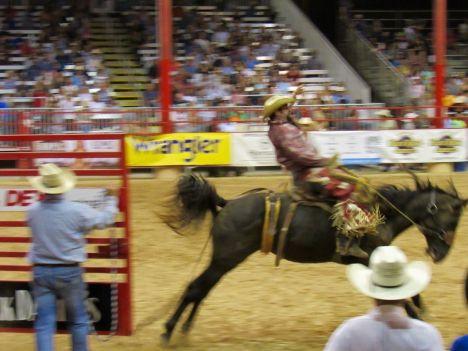 Rodeo a caballo en el Cowboys at Davie Pro Rodeo en Davie, Florida