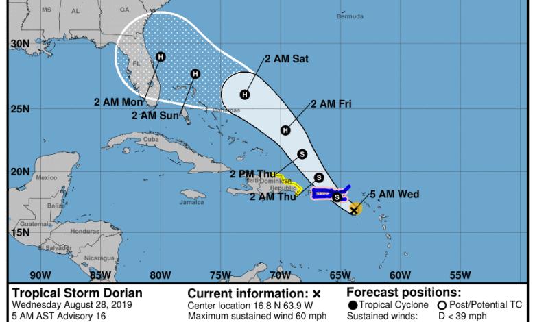 Ouragan Dorian jeudi à 5h