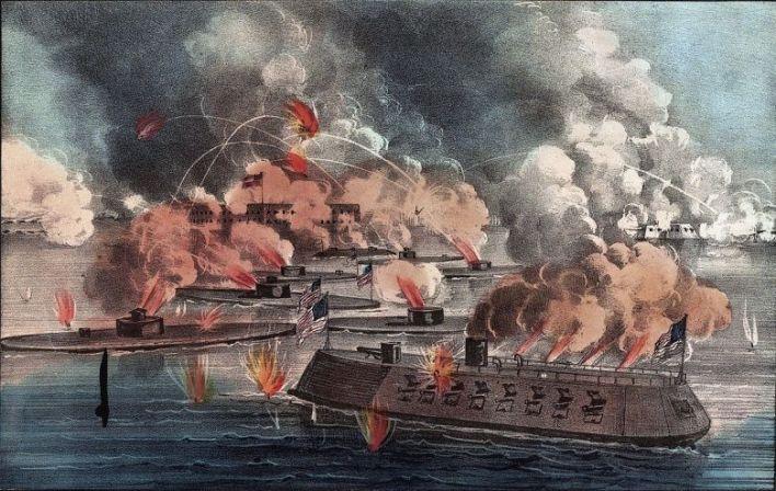 Les cuirassés de l'Union tentant de reprendre  Fort Sumter aux confédérés en 1863.