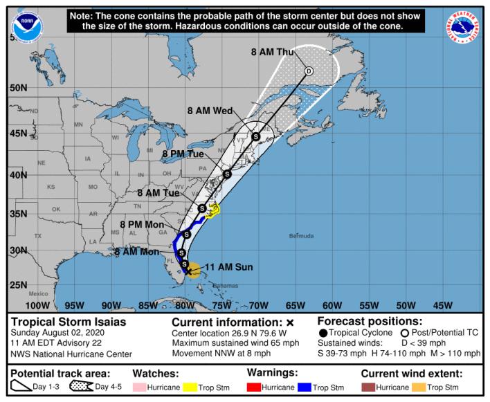 Tempête tropicale Isaias dimanche à 11AM