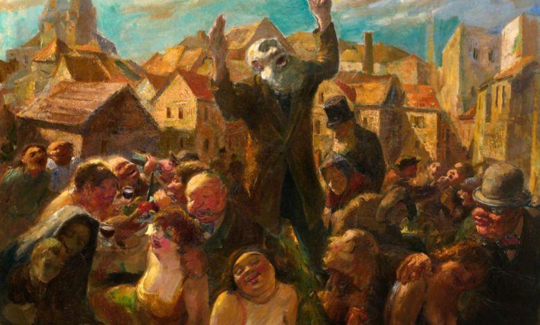 """Dans l'Allemagne de 1930, """"Le Prêcheur du dimanche"""" (du peintre Jacob Steinhardt) n'était (malheureusement) pas pour sa part beaucoup écouté...."""