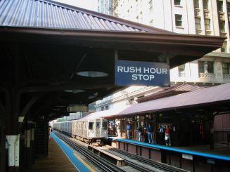 Station de Métro Quincy à Chicago.