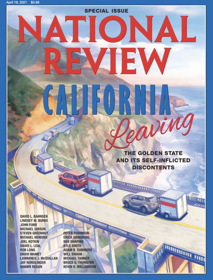 Couverture de National Review sur l'exil californien : California Leaving