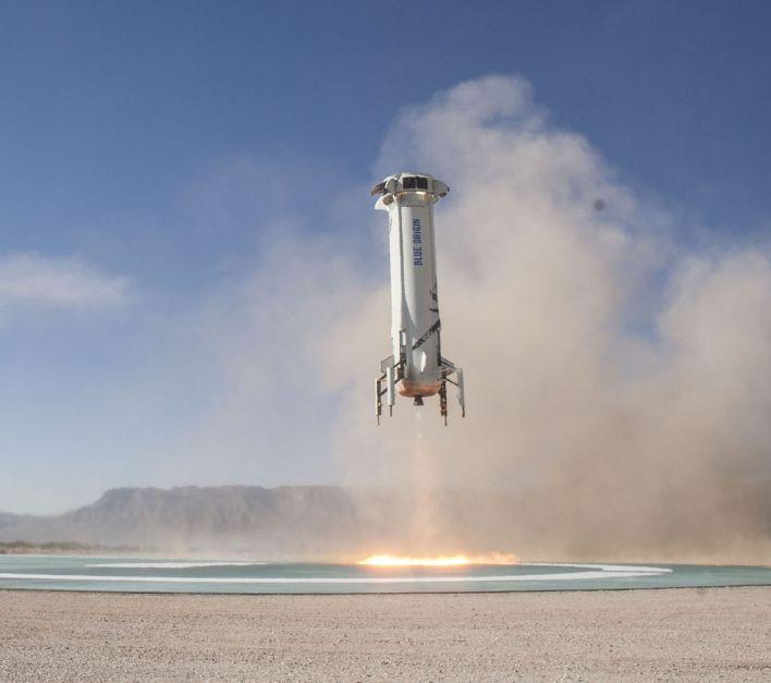 Test d'atterrissage de New Shepard, par Blue Origin