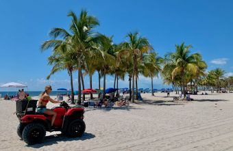La plage de Crandon Park à Key Biscayne, une île de Miami en Floride