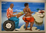 Peinture de Chéri Samba dans une galerie de Chelsea (New-York)