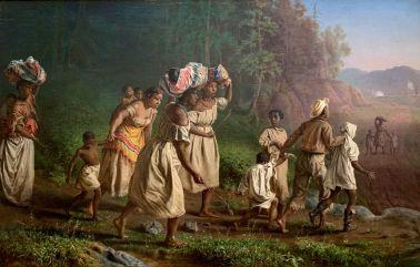 """""""On to Liberty"""" par Theodor Kaufmann qi peint ici les esclaves cherchant le chemin de la liberté (pendant la Guerre Civile) vers le lointain drapeau de l'Union (1867). Metropolitan Museum of Art de New-York"""