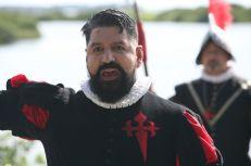 Fr Gilbert Medina interprète chaque année le rôle de Ménendez : ici lors de Founder's Day 2021 à St Augustine