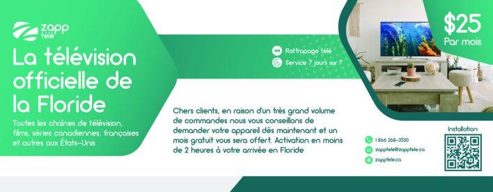 Zapp Télé : pour regarder les télévisions françaises, québécoises, francophones, en Floride et partout aux Etats-Unis