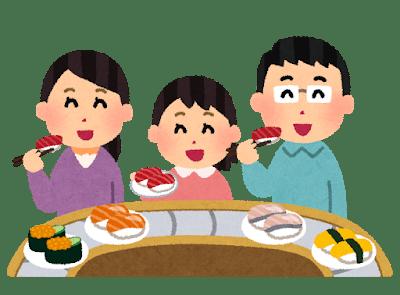 Cliché de la famille japonaise mangeant des sushi