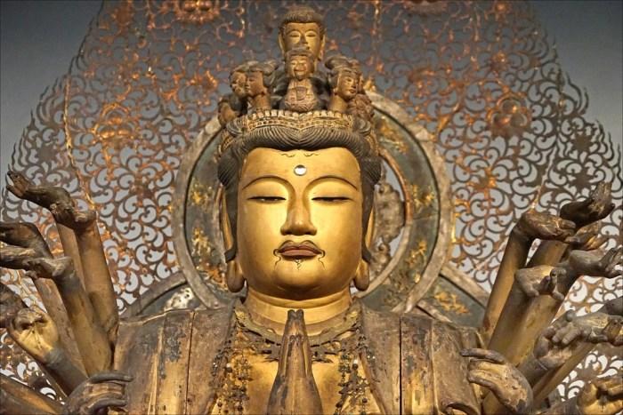 Statue du Bodhisattva Kannon sous sa forme aux mille bras, Japon