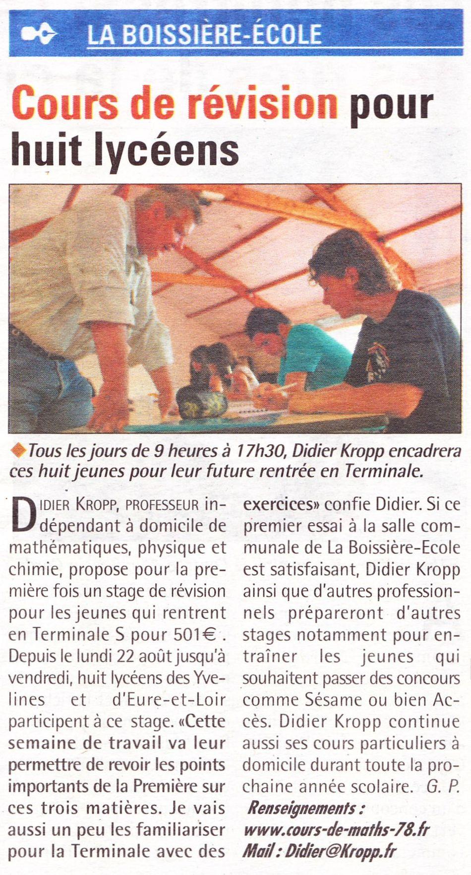 Article paru dans Toutes les nouvelles le 24 août 2011