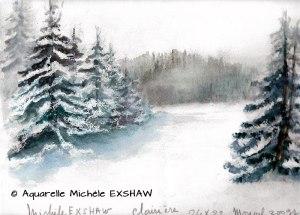 Michèle EXSHAW Clairière enneigée (visioateliers)