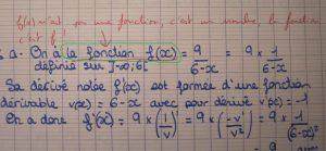 copie d'élève en maths