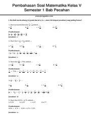 Soal Matematika Kelas 5 Sd Dan Penyelesaiannya : matematika, kelas, penyelesaiannya, Matematika, Kelas, Pecahan, Jawaban.pdf, Pembahasan, Semester, Www.juraganles.com, Berilah, Tanda, Course