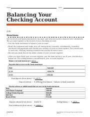 How To Manage Your Checking Account Worksheet Answers : manage, checking, account, worksheet, answers, Activity_Balancing_Your_Checking_Account, Balancing, Checking, Account(1\/3, Directions, Received, Statement, Course