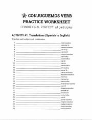 Conjuguemos Answers : conjuguemos, answers, Conditional, 3.pdf, CONJUGUEMOS, PRACTICE, WORKSHEET, CONDITIONAL, PERFECT, Participles, ACTIVITY#1, Translations(Spanish, English, Translate, Course