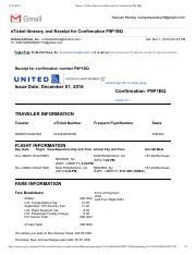 United Airlines Receipt : united, airlines, receipt, ETicket, Gmail, Itinerary, Receipt, Conrmation, P9P1BQ, SanyamPandey<sanyampandey10@gmail.com>, Course