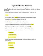 Super Size Me Film Worksheet : super, worksheet, Three, Measurements, Health, Doctors, Checked, Course