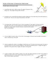 Angle Of Elevation And Depression Worksheet Answers With Work : angle, elevation, depression, worksheet, answers, Angle, Elevation, Depression, Worksheet