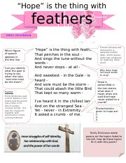 Hope Is The Thing With Feathers Summary : thing, feathers, summary, Thing, Feathers.doc, \u201cHope\u201d, Feathers, EMILY, DICKINSON, Which, Figure, Speech, Appears, First, Course