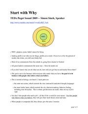 Start With Why Worksheet : start, worksheet, 02a.Start, Start, Puget, Sound, Simon, Sinek, Speaker, Http\/www.youtube.com\/watch?v=u4ZoJKF_VuA, Purpose, Cause, Course