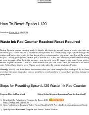 Cara Reset L120 : reset, Replace, Waste, Epson
