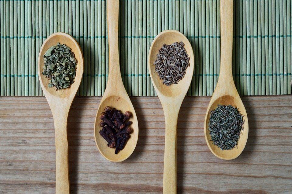 spoons full of measured ingredients