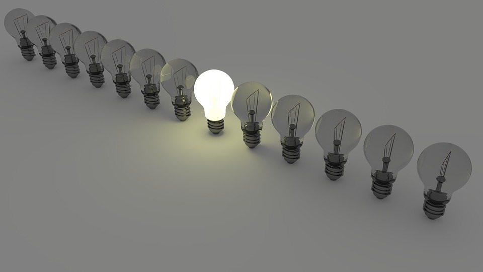 One bright light in a line of bulbs, bright idea