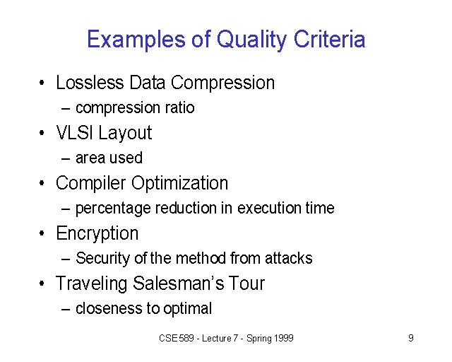 Examples of Quality Criteria