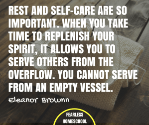 Rest and self-care are so important. When you take time to replenish your spirit, it allows you to serve others from the overflow.
