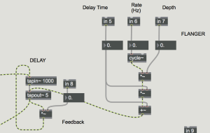 Flanger is receiving values via OSC to control delay output of each individual string