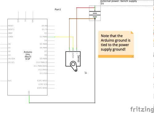 small resolution of arduino code to move the servo around a bit