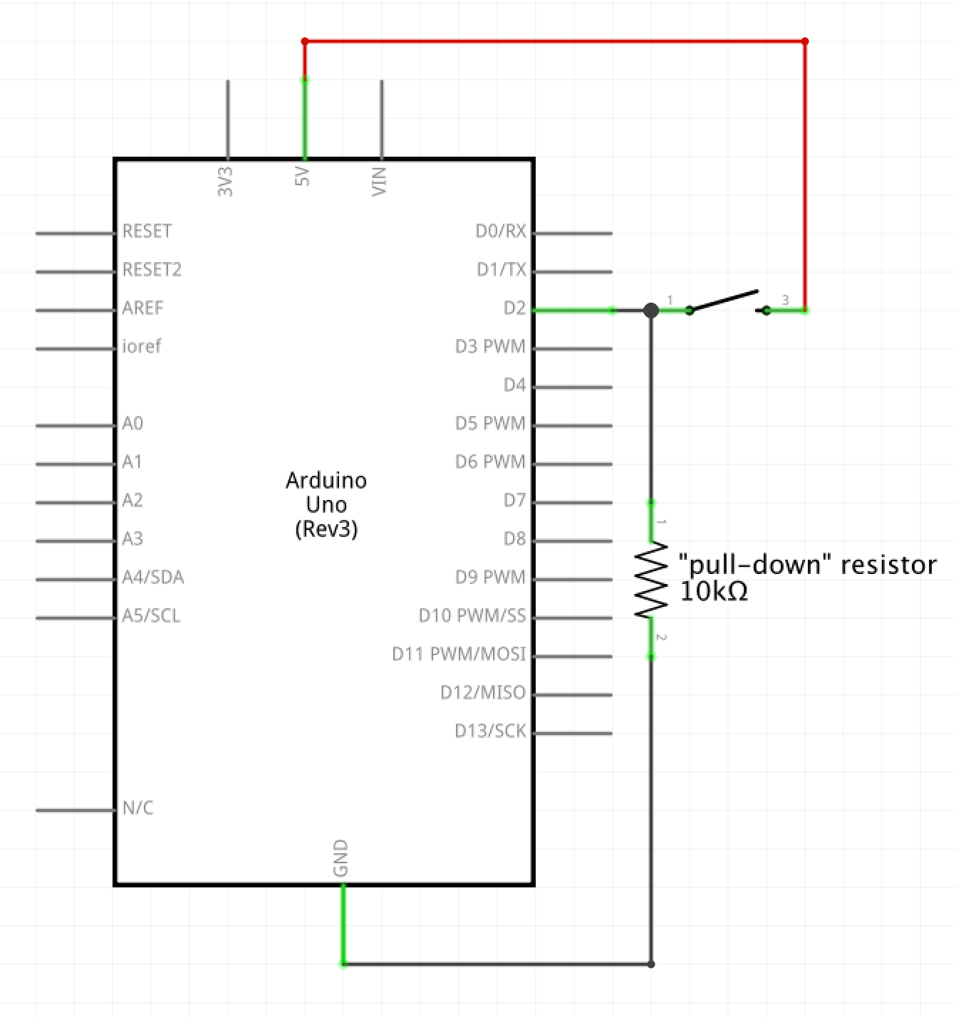 hight resolution of schematic drawing a simple switch single pole single throw is wired from 5v